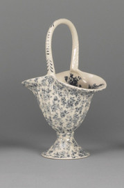 Blue and White Decorative Transferware Porcelain Basket, 11t X 7.55w X 4.5d