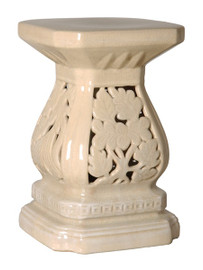 Cascader Feuillage, 19 Inch Finely Finished Ceramic Garden Stool | Table Base, Crackle Ivory Finish