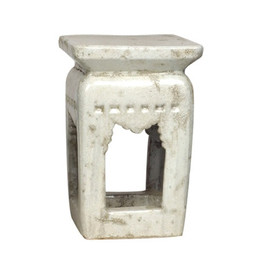 Finely Finished Ceramic Square Garden Stool, 20 Inch, Distressed Ivory Finish