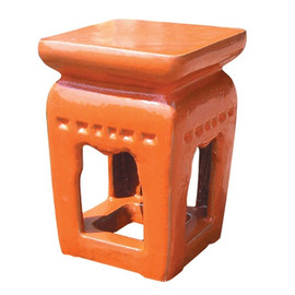 Finely Finished Ceramic Square Garden Stool, 20 Inch, Polished Red Pepper Finish