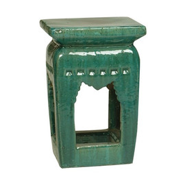 Finely Finished Ceramic Square Garden Stool, 20 Inch, Polished Green Finish