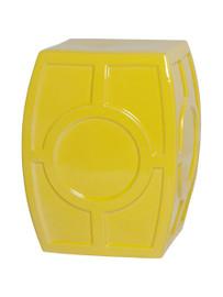 Finely Finished Ceramic Circle Contemporary Garden Stool, 18 Inch, Lemon Yellow Finish