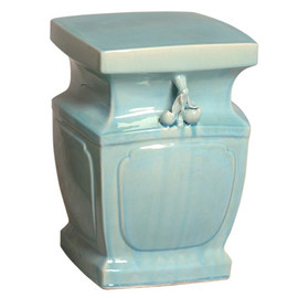 Finely Finished Ceramic Square Garden Stool, 18 Inch, Sky Blue Finish