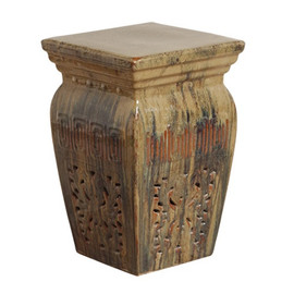 Finely Finished Ceramic Square Garden Stool, 22 Inch, Polished Mottled Toffee Finish