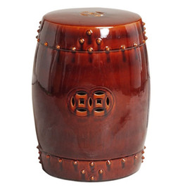 Finely Finished Ceramic Garden Stool, 18 Inch, Polished Brown Finish