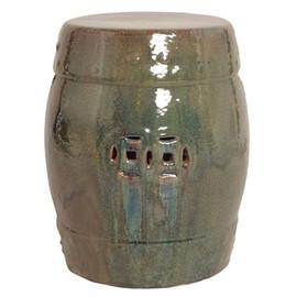 Finely Finished Ceramic Garden Stool, 18 Inch, Iridescent Kelp Finish