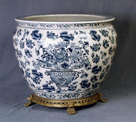 Blue and White Decorative Transferware Porcelain Planter, 14 Inch Fish Bowl | Fishbowl  Style