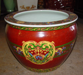 LCP - Luxury Handmade Reproduction Chinese Porcelain - 14 Inch Fish Bowl | Fishbowl Planter - Style 35