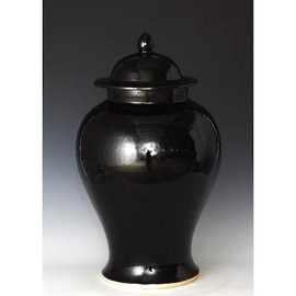 Finely Finished Porcelain Temple Jar, 21 Inch, Polished Black Finish