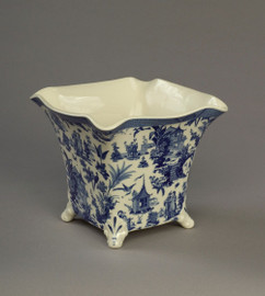 Blue and White Decorative Transferware Porcelain Planter, 8 Inch Square