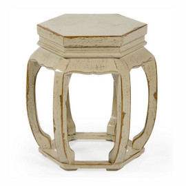 Chinese Hand Made, 21 Inch Wooden Hexagonal Stool, Accent Table, Shabby Chic Off White Finish