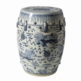 Finely Finished Ceramic Garden Stool, 17 Inch, Classic Blue and White Foo Dog Design