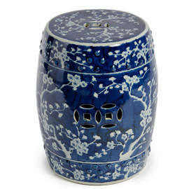 Finely Finished Ceramic Garden Stool, 17 Inch, Classic Blue and White Plum Blossom Design