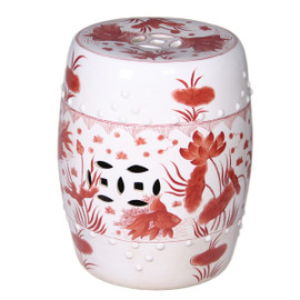 Finely Finished Ceramic Garden Stool, 17 Inch, Classic Orange and White Fish Design