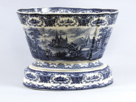 Blue and White Decorative Transferware Porcelain Planter, 16 Inch Oval Shape