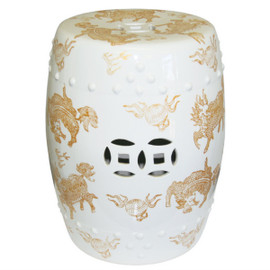 Finely Finished Ceramic Garden Stool, 17 Inch, Polished White Finish with Golden Dragons