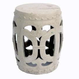 Finely Finished Ceramic Garden Stool, 18 Inch, Antiqued Ivory Finish