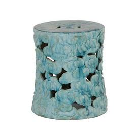 Finely Finished Ceramic Garden Stool, 19 Inch, Antiqued Turquoise Finish