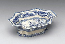 Blue and White Decorative Transferware Porcelain, Curved Corner Bowl, 9.5L X 6.5d X 3.25t
