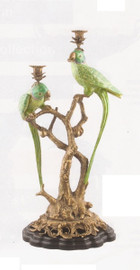 Lost Wax Cast Bronze Parrot Sculpture, 26t X 14w X 11d Two Candle Taper Candle Holder, Polychrome Patina