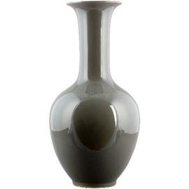 Finely Finished Porcelain, 20 Inch Tabletop or Mantel Vase, Ash Gray | Grey Finish
