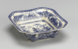 Blue and White Decorative Transferware Porcelain Bowl, 7.5 Inch Square Shape
