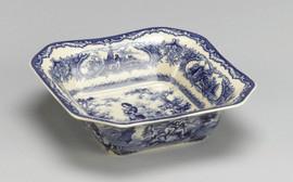 Blue and White Decorative Transferware Porcelain Bowl, 7.5 Inch Square Shape