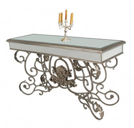 Silver Mirror and Wrought Iron - 34t X 18d X 56L Console, Entry Table - Contemporary Louis XV Rococo Style