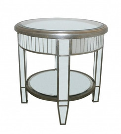 Silver Mirror - 24 Inch Accent, End Table - Modern Contemporary Art Deco Style
