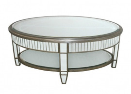 Silver Mirror - 17t X 40w X 26d Cocktail, Coffee Table - Modern Contemporary Art Deco Style