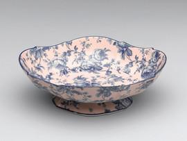 Blue and White | Decorative Roses Transferware Porcelain Dish, Serpentine, Oval Shape 12L x 9.5d x 4t