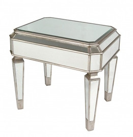 Silver Mirror - 24t X 27w X 22d Accent, End, Lamp Table - Louis XVI Neo Classical Style