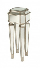 Silver Mirror, 32t X 12w X 12d Pedestal, Plant Stand, Modern Contemporary Style