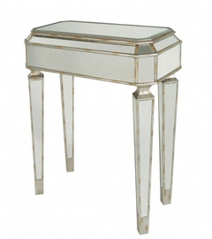 Silver Mirror - 32t X 28w X 14d Side, Accent, Entry Table - Louis XVI Neo Classical Style