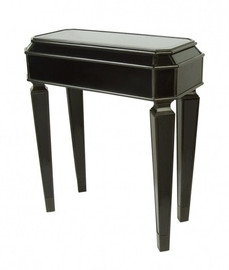 Ebony Black Mirror - 32t X 28w X 14d Side, End, Lamp Table - Louis XVI Neo Classical Style