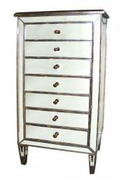 Silver Mirror - 52t X 25w X 15d Chest of Seven Drawers - Contemporary Modern Style