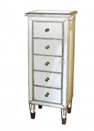 Silver Mirror - 48t X 18w X 12d Chest of Five Drawers - Contemporary Modern Style