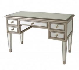 Silver Mirror - 29t X 48w X 21d Five Drawer Bureau Plat Desk - Modern Contemporary Style