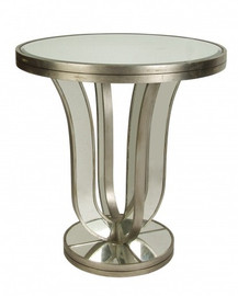Silver Mirror - 28dia x 30t Round Accent, End Table - Modern Contemporary Art Deco Style