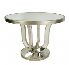 Silver Mirror - Round 42dia. X 29.5t Dining, Breakfast or Entry Table - Modern Contemporary Style