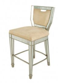 Silver Mirror - 20.3w x 21.9d x 40t Bar Stool, Chair - Modern Contemporary Art Deco Style