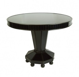 Ebony Black Mirror - Round 40 Inch Center, Breakfast or Dining Table - Modern Contemporary Style