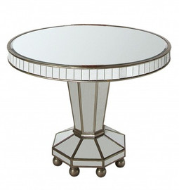Silver Mirror - 40dia x 30t Round Dining or Entry Table - Modern Contemporary Art Deco Style