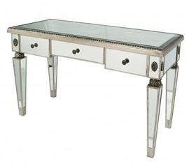 Silver Mirror - 29t X 48w X 21d Bureau Plat Writing Desk - Louis XVI Neo Classical Style