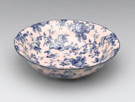 Blue and White Decorative Transferware Porcelain Bowl, 11.75 Inch Diameter