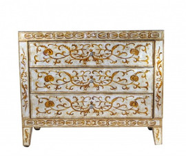 Reverse Hand Painted Silver Mirror - 32t X 38w X 18d Accent Chest of Drawers, Dresser