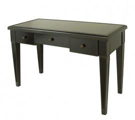 Ebony Black Mirror - 29t X 48w X 21d Bureau Plat Writing Desk - Contemporary Modern Style
