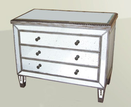 Silver Mirror - 29t X 38w X 16d Bedside or Accent Chest of Drawers, Dresser - Contemporary Modern Style