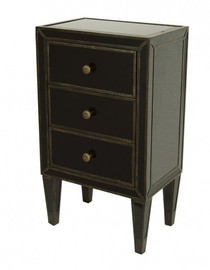 Ebony Black Mirror - 29t X 18w X 12d Bedside or Accent Chest - Contemporary Modern Style