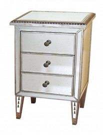 Silver Mirror - 30t X 18w X 12d Bedside or Accent Chest - Contemporary Modern Style
